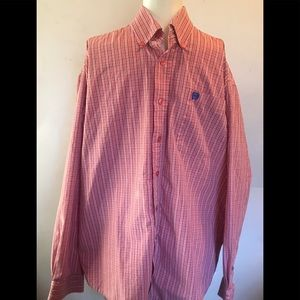 Cinch Mens shirt small pink plaid with pocket